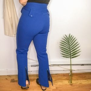 70s Daniel Hechter Blue Wide Leg High Rise Pants